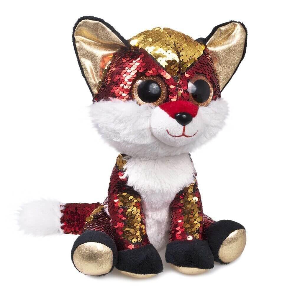 М'яка іграшка лисичка з паєтками 25 см FANCY