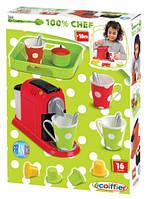 Набор кофеварка игрушка детская с посудой и подносом, 16 аксессуаров, Ecoiffier