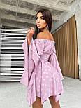 Принтованное платье с расклешенными рукавами и корсетом с открытыми плечами летнее (р. 42, 44) 66032643Е, фото 2