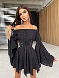 Принтованное платье с расклешенными рукавами и корсетом с открытыми плечами летнее (р. 42, 44) 66032643Е, фото 8