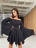 Принтованное платье с расклешенными рукавами и корсетом с открытыми плечами летнее (р. 42, 44) 66032643Е, фото 7