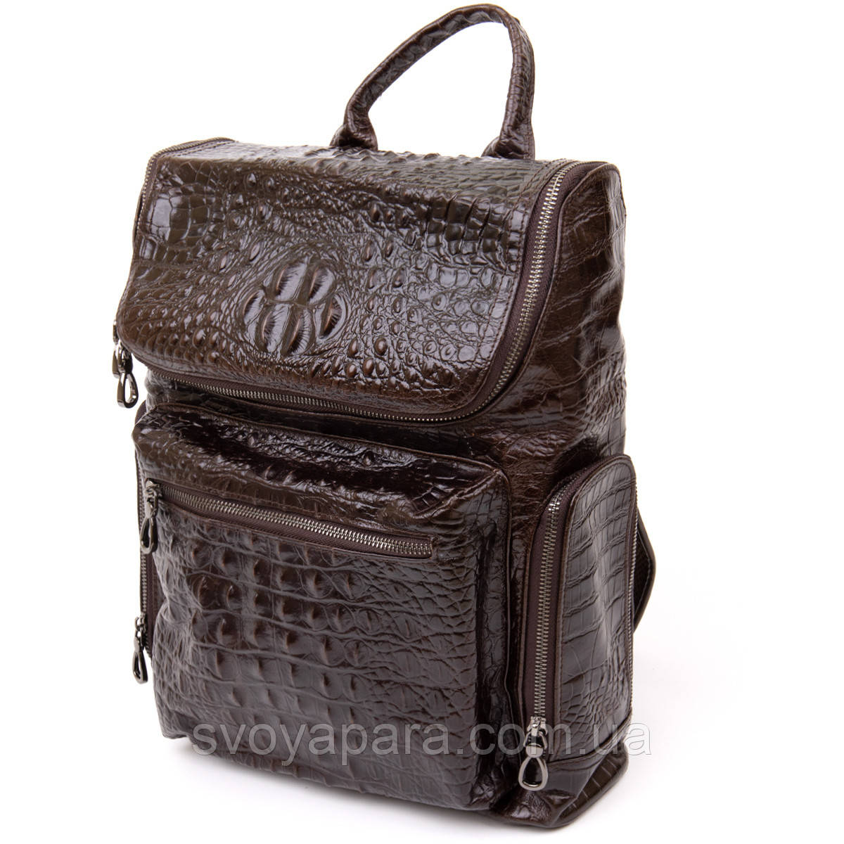 Рюкзак під рептилію шкіряний Vintage 20430 Коричневий