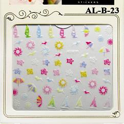3D Самоклеючі Наклейки для Нігтів Nail Sticrer ALB 23 Квіти, Кораблики, Сонечко, Літо Слайдер Дизайн