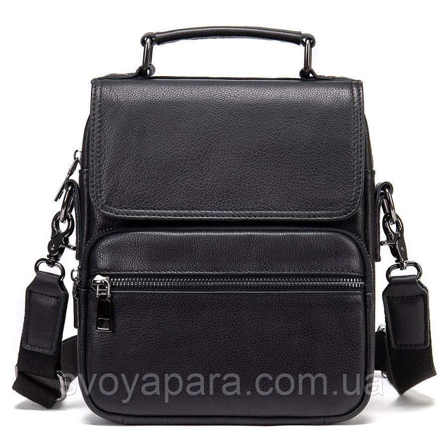 Вертикальна чоловіча сумка в м'якій шкірі Vintage 20367 Чорна