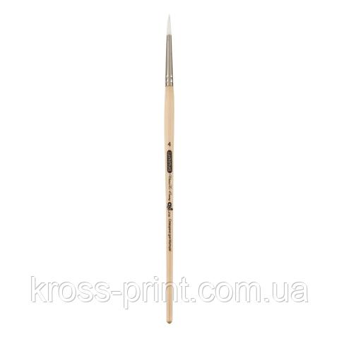 Кисть синтетика, Creamy 6972, круглая, № 4, короткая ручка, ART Line