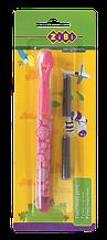 Ручка пір'яна з відкритим пером + 2 капсули, рожевий корпус, блістер, KIDS Line