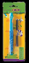 Ручка пір'яна з відкритим пером + 2 капсули, блакитний корпус, блістер, KIDS Line