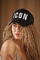 Бейсболка женская ICON Кепка мужская коттоновая логотип вышит Черная