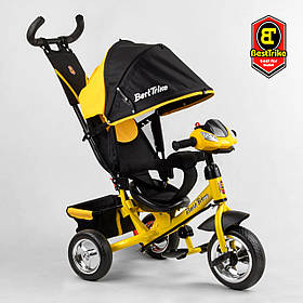Велосипед триколісний Best Trike 6588/72-109 Чорно-жовтий | Велосипед-коляска з батьківською ручкою