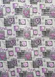 Простынь из полиэстера евроразмер Простыня на большую кровать 200х220 Сиреневые сердечки, фото 2