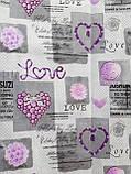 Простынь из полиэстера евроразмер Простыня на большую кровать 200х220 Сиреневые сердечки, фото 7