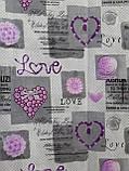 Простынь из полиэстера евроразмер Простыня на большую кровать 200х220 Сиреневые сердечки, фото 6