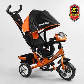Велосипед триколісний Best Trike 6588/77-607 Чорно-помаранчевий | Велосипед-коляска з батьківською ручкою