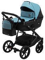 Дитяча коляска 2 в 1 Bair Kiwi 100% еко-шкіра BK-7/15 голубий - чорний