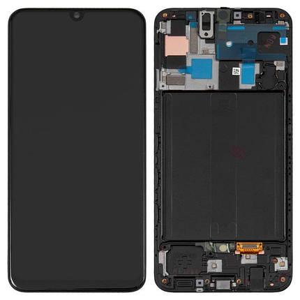 Дисплей (экран) для Samsung A505F Galaxy A50 2019 с сенсором (тачскрином) и рамкой черный переклеенное стекло, фото 2