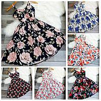 Летнее короткое нарядное женское платье с цветочным принтом. Размер: 42-46. Есть разные расцветки.