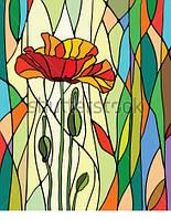 Витраж оконный - Витраж цветок маки