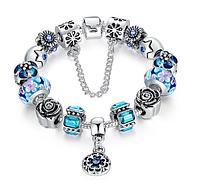 Браслет в стиле PANDORA - Голубые цветы