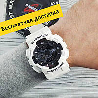 Спортивные мужские наручные часы белые Касио Casio G-Shock GA-110 White-Black New Чоловічі спортивні годинники