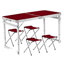 Посилений стіл для пікніка розкладний з 4 стільцями (Коричневий) 0112