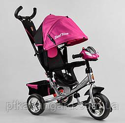 Велосипед трехколесный для девочки с родительской ручкой и музыкой Розовый Best Trike 6588 колеса пена