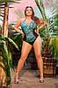 Женский слитный батальный купальник с кружевной вставкой
