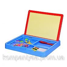 Дитяча двостороння дошка для малювання 2 в 1 YM995-6 з маркерами і магнітами (Синій)