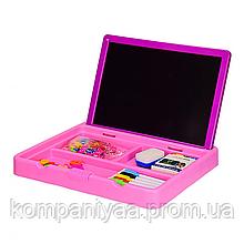 Дитяча двостороння дошка для малювання 2в1 з маркерами і магнітами YM996 (Рожевий)