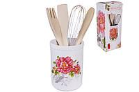 Подставка керамическая в наборе с кухонными принадлежностями 26см Райский сад BonaDi DM959-P ТОВАР ОТ