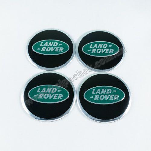 Наклейки на ковпачки Land Rover чорні / зелений лого 56 мм
