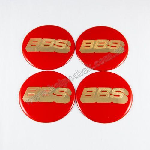 Наклейки на ковпачки BBS червоні / золотий лого 56 мм