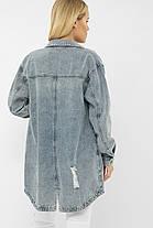 Голубая удлиненная джинсовая куртка оверсайз с декоративными швами и пуговицами  размер S M L XL, фото 2