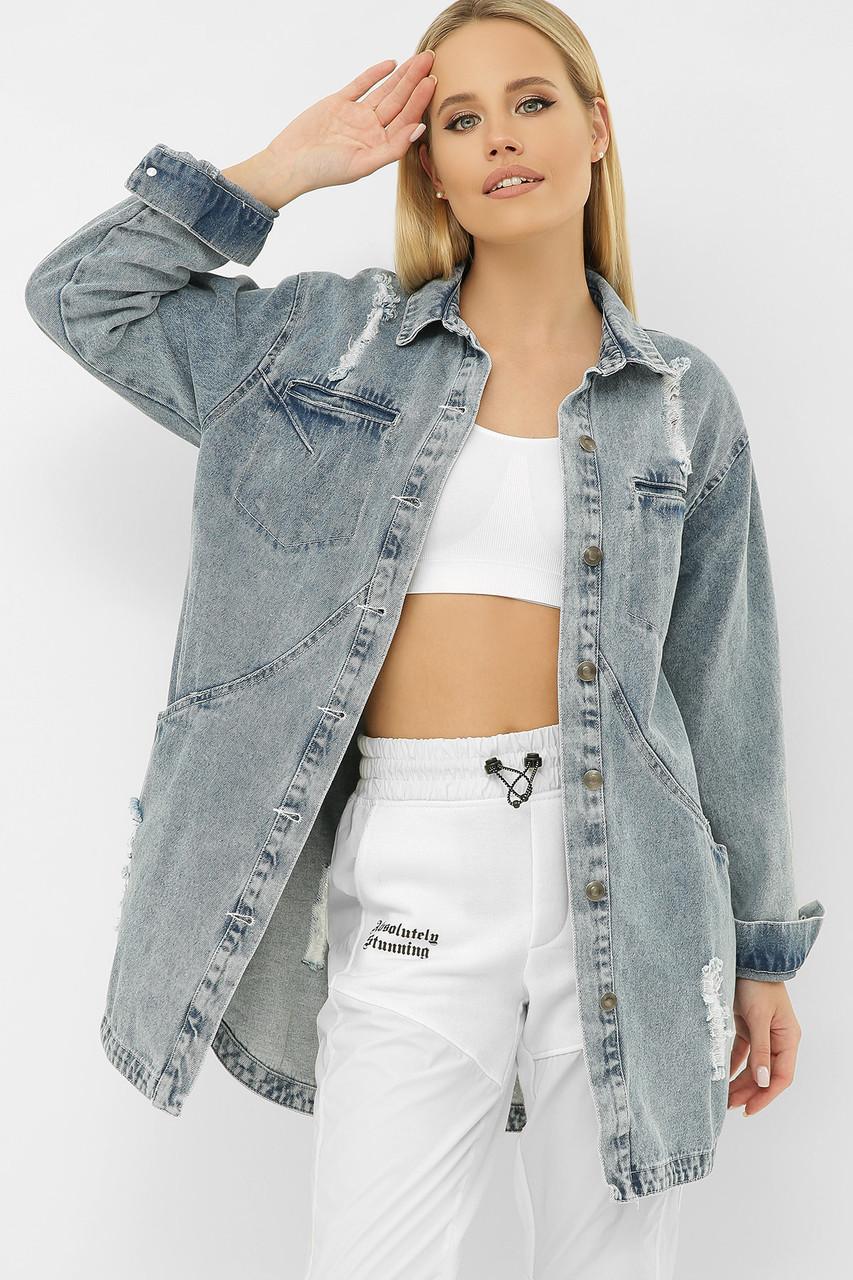 Голубая удлиненная джинсовая куртка оверсайз с декоративными швами и пуговицами  размер S M L XL