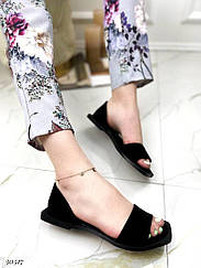 Балетки з відкритим носком Колір: чорний Матеріал: натуральний замш