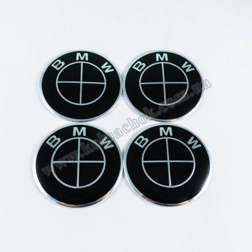 Наклейки на колпачки BMW черный лого 65 мм
