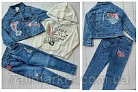 """Костюм трійка дитячий джинсовий з зайчиком дівчинку 2-5 років (2цв) """"MARI"""" купити недорого від прямого постачальника"""