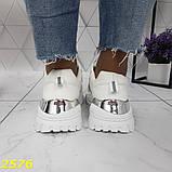 Кросівки на масивної тракторній підошві білі з дзеркальними вставками 36, 37, 38, 39, 40, 41 р. (2576), фото 4