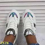 Кросівки на масивної тракторній підошві білі з дзеркальними вставками 36, 37, 38, 39, 40, 41 р. (2576), фото 7