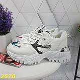 Кросівки на масивної тракторній підошві білі з дзеркальними вставками 36, 37, 38, 39, 40, 41 р. (2576), фото 8