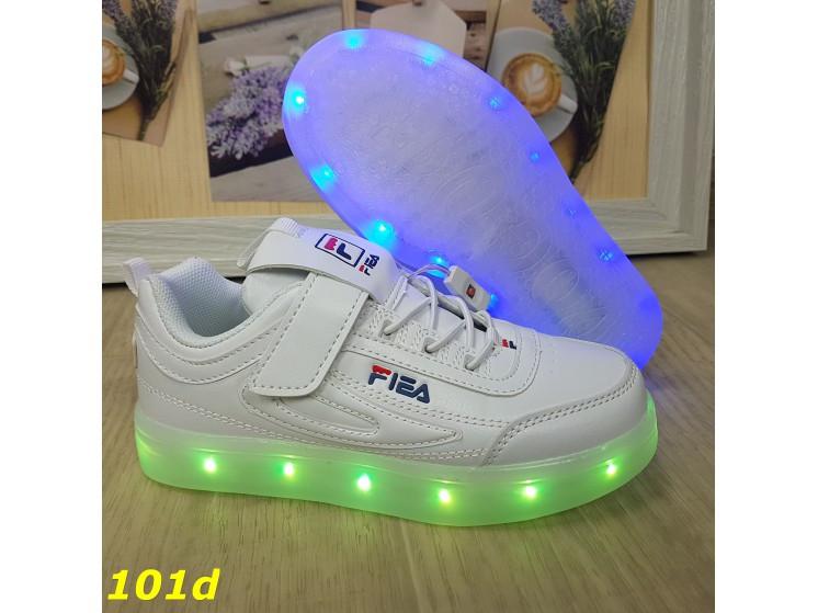 Дитячі кросівки білі філа світяться з підсвічуванням Led 27-32р 27, 28, 29, 30, 32 р. (101d)