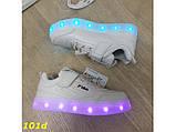 Дитячі кросівки білі філа світяться з підсвічуванням Led 27-32р 27, 28, 29, 30, 32 р. (101d), фото 2