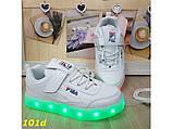 Дитячі кросівки білі філа світяться з підсвічуванням Led 27-32р 27, 28, 29, 30, 32 р. (101d), фото 5