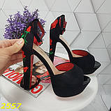Босоножки классика с вышивкой черные замшевые 38 р. (2557), фото 2