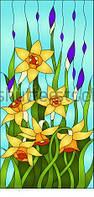 Витраж оконный - Витраж Цветы Ирисы Нарцис