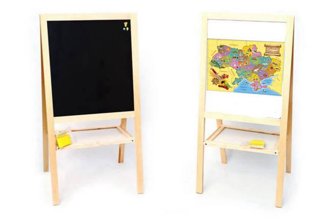 Мольберт 4 ноги деревян. двухстор. магнит. с полочкой - карта мира   МАСЯНЯ, фото 2