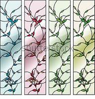 Оконный витраж - Витраж цветы листья узор