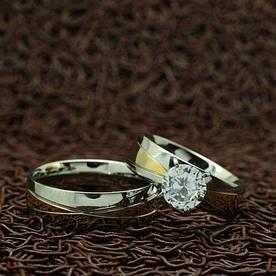 """Парные кольца из нержавеющей медицинской стали """"Моя любовь"""" [жен. 19.0 муж. 17.3 размеры в наличии]"""