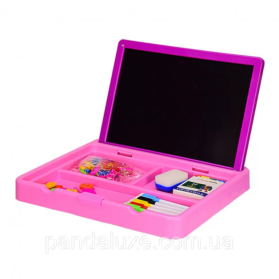 Детская двухсторонняя доска для рисования 2 в 1 YM995-6 с маркерами и магнитами (Розовый)