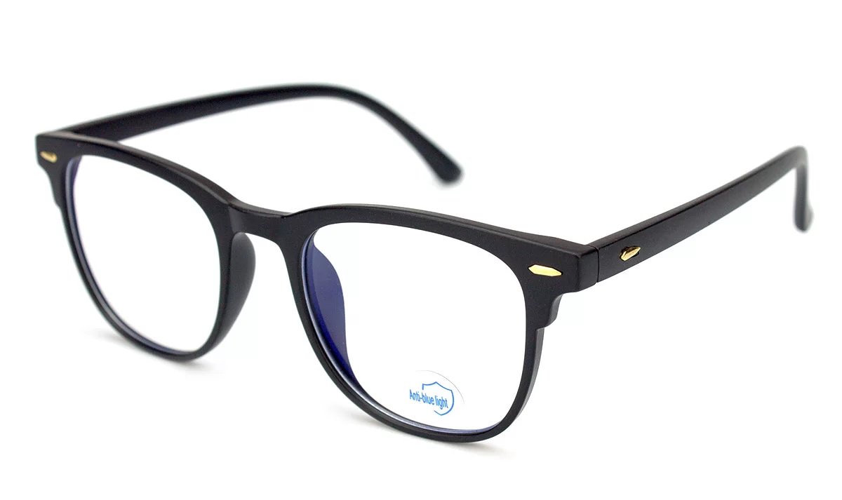 Комп'ютерні окуляри Blue blocker, окуляри для комп'ютера, окуляри для роботи за комп'ютером, чорний пластик, Bluelight