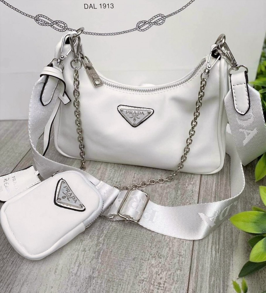 Женская сумка Prada Nylon Shoulder Bag White